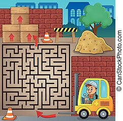 Maze 3 with fork lift truck theme - eps10 vector...