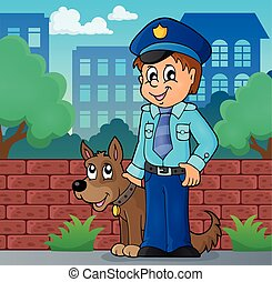 Policeman with guard dog image 2 - eps10 vector illustration...