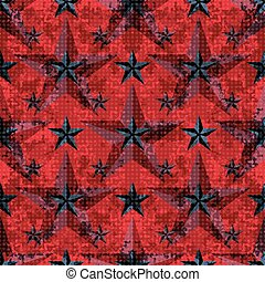 black and red stars on a red background seamless pattern...