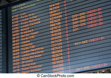 Departure arrival board airport - Electronic display of...