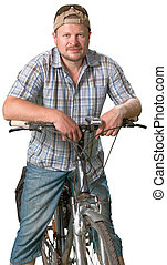 Tourist man standing with a bicycle on white background