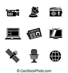 Set of media icons - news, radio, tv, internet, earth, satellite, camera, microphone. Vector