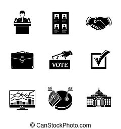 Set of ELECTION icons  - votebox, handshake, portfolio, vote list, speaking man, infographics, check mark, white house. vector