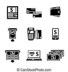 Set of ATM monochrome icons with - ATM, cards, wallet,...