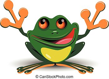 Merry frog - Illustration merry green frog with big eyes