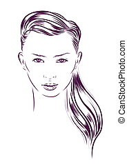 beautiful woman face hand drawn vector illustration -...