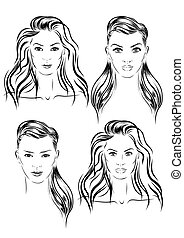 beautiful woman face set hand drawn vector illustration -...