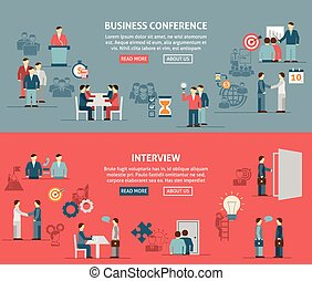 People Meeting Flat Horizontal Banner Composition - Flat...