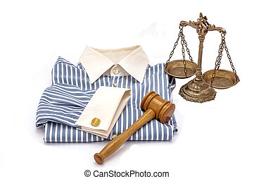 Law and order - Blue and white cotton shirt, wooden gavel...