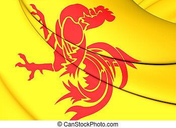 Flag of Wallonia Region, Belgium. - 3D Flag of Wallonia...