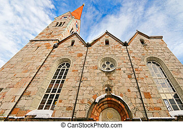 Evangelical Church in Salzkammergut - Low angle view of...