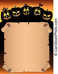 Parchment with pumpkin silhouettes 5
