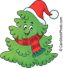 Tree with Christmas hat theme 1 - eps10 vector illustration