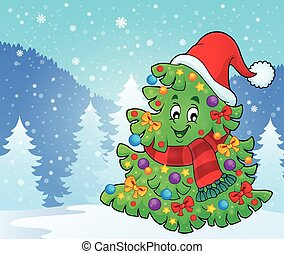 Tree with Christmas hat theme 4 - eps10 vector illustration