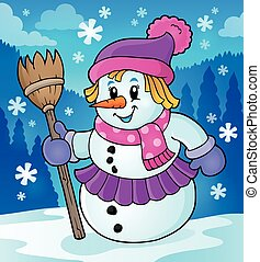 Winter snowwoman topic image 2 - eps10 vector illustration