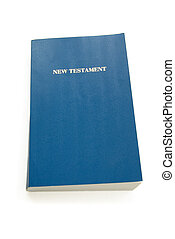 new testament with blue cover isolated over white