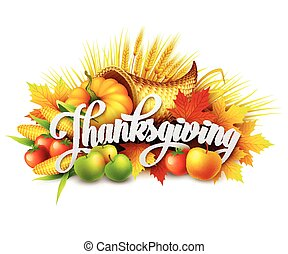 Illustration of a Thanksgiving cornucopia full of harvest...