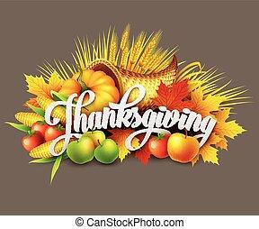 Illustration of a Thanksgiving cornucopia full of harvest...