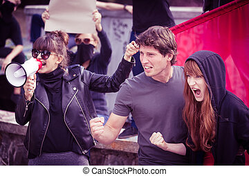 Participants of street demonstration - Photo of active young...
