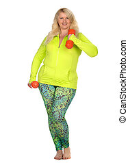 Happy woman on white background - Happy blond plus size...