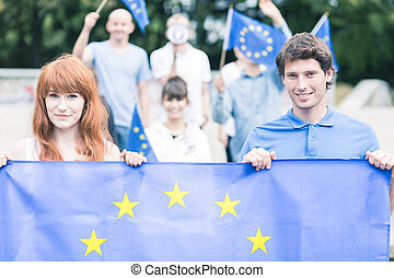 People with european union flag - Photo of young people with...