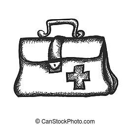 doodle first aid bag illustration