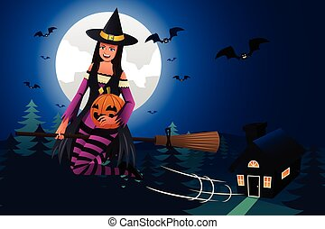 Witch Flying in Front of the Full Moon