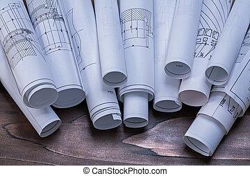 Rollos, de, construcción, planes, en, pino, de...