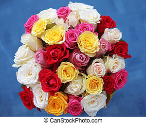 multicolored roses bouquet of flowers isolated on blue...