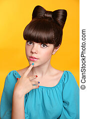 Beauty fashion teen girl with bow hairstyle and colourful...