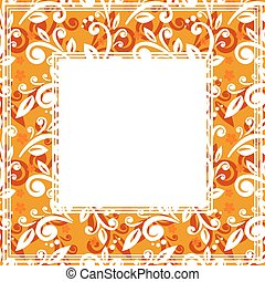 floral orange border - Abstract floral border on an orange...