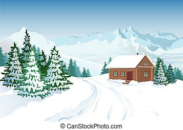 Beautiful Winter Landscape With House - Winter landscape...