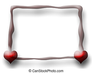 Slim Love Frame - Slim Love frame with two Hearts over white...
