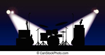 Rock Band Stage Equipent - Silhouette of a rock bands...
