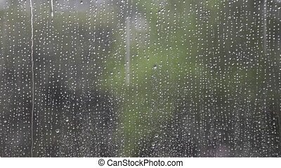 Raindrops - Autumn Rain Through Window With Raindrops...