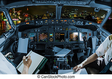 Cockpit in Sydney - Cockpit and board of an airplane in...