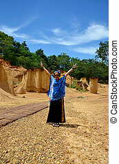 Thai woman portrait and happy feeling at Phae Mueang Phi