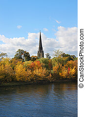 Fredericton New Brunswick, Canada - View of cathedral spire...