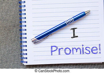 I promise write on notebook - I promise text concept write...