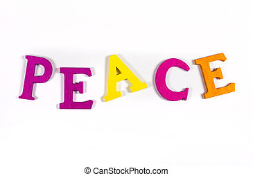 PEACE spelt out with bright coloured letters over a white...