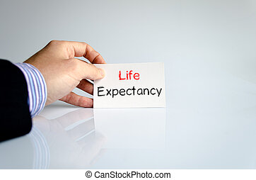 Life expectancy text concept isolated over white background