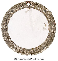 Old pewter medal - Old grungy pewter medal with a paper...