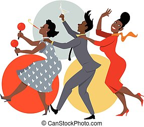 Party dance - Group of people dressed in late 1950s early...