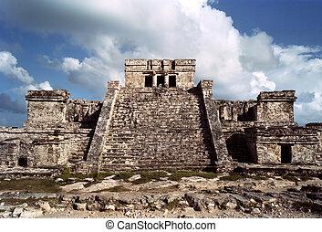 Tulum, Mayan temple - Tulum Mayan ruins located in the...