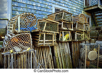 Lobster traps - Vintage wooden lobster traps stacked up on...