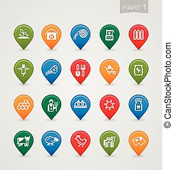 Mapping pins icons Farm part 1 set eps 10