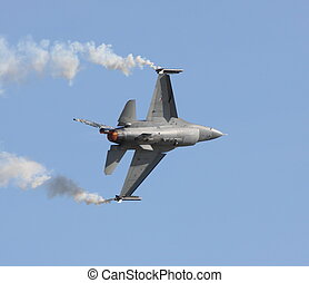 royal netherlands airforce f-16 - f-16 pulling away for...
