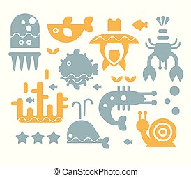 Sea Inhabitants Vector Illustration Set in Flat Style -...