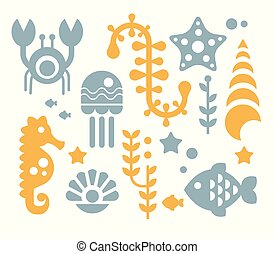 Sea Inhabitants and Plants Vector Illustration Set in Flat...
