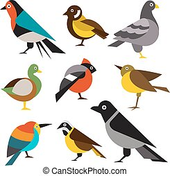 Set of Wild Birds in Flat Style. Vector Illustration -...